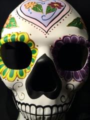 masque squelette mexicain, masque de déguisement, masque mexicain halloween, masque déguisement halloween, accessoire déguisement halloween masque, masque en papier maché, masque dia de la muerte, masque halloween jour des morts, déguisement jour des morts halloween, masque jour des morts Masque Squelette Mexicain, Jour des Morts, Fait Main