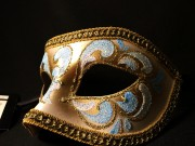 masque vénitien, loup vénitien, masque carnaval de venise, véritable masque vénitien, accessoire carnaval de venise, déguisement carnaval de venise, loup vénitien fait main Vénitien, Aquario, Bleu et Or