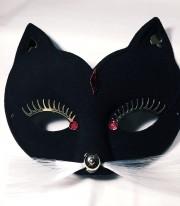 masque de chat, loup, masque vénitien Loup Baghera, Noir