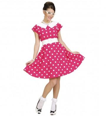 déguisement années 50, robe années 50 déguisement, costume années 50 femme, costume années 60 femme, déguisement années 60 femme, robe à pois déguisement femme, déguisement rock femme, déguisement sixties femme Déguisement Années 50 Rose