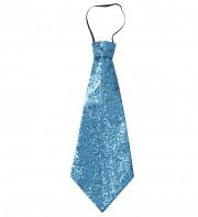 cravate large à paillettes, cravate clown, cravate à paillettes, cravate déguisement, accessoire déguisement, accessoire disco, cravate disco, cravate paillettes bleues, cravate bleue Cravate Paillettes Glitter, Bleu Turquoise