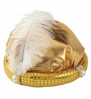 chapeaux oriental, coiffe orientale, chapeaux aladin, chapeaux orientals paris, coiffes orientales, chapeau doré paris, accessoire oriental Chapeau de Sultan, Or et Plume