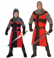 déguisements couples, déguisements chevaliers, déguisements médiéval Chevalier Dark Age et Chevalier Dark Age Kid