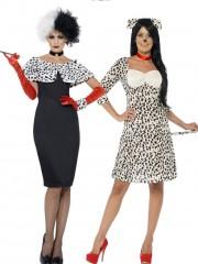 déguisements couples, déguisement cruelle et dalmatien, déguisements films Cruella et Dalmatien