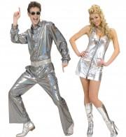 déguisements couples, déguisements disco Disco Paillettes et Disco Queen Argent