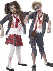déguisements duos, déguisement écolière zombie et écolier zombie, déguisements halloween enfant Ecolière Zombie et Ecolier Zombie, Kid