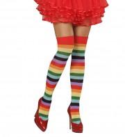 bas arc en ciel, chaussettes rayées, bas multicolores, collants rayés, bas déguisement, collant déguisement, accessoire déguisement Bas Arc en Ciel