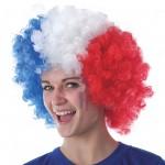 perruque france, accessoire de supporter, accessoires euro 2016, équipe de france, boutique de supporter, perruque tricolore, perruque drapeau france, bleu blanc rouge Perruque de Supporter France, Afro Bleu Blanc Rouge
