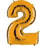 ballon chiffre, ballon alu chiffre, ballon chiffre 2 or Ballon Aluminium, Chiffre 2, Or