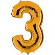 ballon chiffre, ballon alu chiffre, ballon chiffre 3 or Ballon Aluminium, Chiffre 3, Or