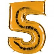 ballon chiffre, ballon alu chiffre, ballon chiffre 5 or Ballon Aluminium, Chiffre 5, Or
