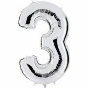 ballon chiffre, ballon alu chiffre, ballon chiffre 3 argent Ballon Aluminium, Chiffre 3, Argent
