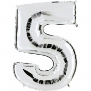 ballon chiffre, ballon alu chiffre, ballon chiffre 5 argent Ballon Aluminium, Chiffre 5, Argent