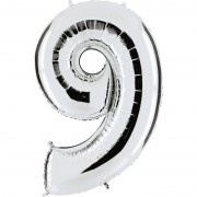 ballon chiffre, ballon alu chiffre, ballon chiffre 9 argent Ballon Aluminium, Chiffre 9, Argent