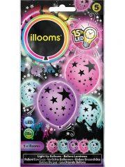 ballons à led, ballons lumineux, ballons fluos, ballons de baudruche, ballons hélium, ballons anniversaires Ballon à LED, Etoiles, x 5