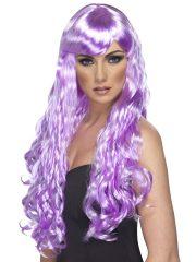 perruque femme, perruque paris, perruque cheveux violets, perruque rose, perruque frisée, perruque femme, perruque de déguisements Perruque Desire, Violette Lilas