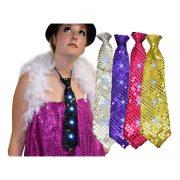 cravate brillante, cravate à led, cravate à lumière, accessoire lumineux, cravate lumineuse, cravate clignotante, accessoires fluos Cravate Lumineuse à Sequins