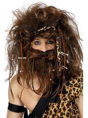 perruque pour homme, perruque pas chère, perruque de déguisement, perruque homme, perruque homme des cavernes, perruque de cromagnon, perruque avec barbe, perruque préhistorique, perruque caveman, Perruque et Barbe, Crazy Caveman, Homme des Cavernes, Châtain