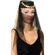 accessoire oriental, coiffe orientale pièces d'or, danseuse arabe, danseuse du ventre, oriental, chapeau oriental pour femme Coiffe Orientale, Noire
