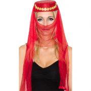 accessoire oriental, coiffe orientale pièces d'or, danseuse arabe, danseuse du ventre, oriental, chapeau oriental pour femme Coiffe Orientale, Rouge