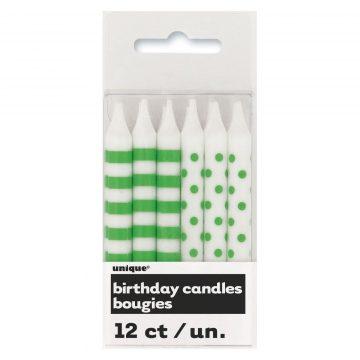 bougies pour anniversaires, bougies originales anniversaires, bougies polka dots, bougies rayures et pois, bougies pour gâteau d'anniversaire paris 12 Bougies d'Anniversaire, Pois et Rayures Vertes