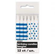 bougies pour anniversaires, bougies originales anniversaires, bougies polka dots, bougies rayures et pois, bougies pour gâteau d'anniversaire paris 12 Bougies d'Anniversaire, Pois et Rayures Bleues
