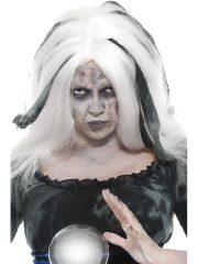 perruque halloween, perruque de sorcière, perruque noire et blanche, accessoire halloween, accessoire sorcière déguisement Perruque de Sorcière, Soothsayer, Blanche avec Rubans