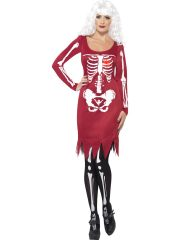déguisement halloween femme, costume hallwoeen femme, déguisement squelette halloween, déguisement squelette adulte, costume halloween, déguisement squelette femme, robe de squelette déguisement, déguisements halloween paris Déguisement Squelette, Rouge, Coeur Lumineux