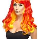 perruque femme, perruque diable femme, perruque halloween, accessoire halloween, accessoire diable halloween, accessoire costume de diable, perruque rouge femme, perruque pas cher paris, perruque femme paris Perruque Devil Flamme, Rouge et Jaune