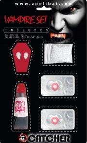 kit de vampire avec lentilles, lentilles halloween, maquillage halloween, accessoire vampire halloween, lentilles halloween, canines de vampire halloween Kit de Vampire, avec Lentilles Rouges