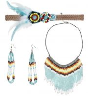 collier indien perles déguisement, collier indien perles, accessoires d'indien, collier de déguisement, accessoires indienne pas cher, bijoux indiens, faux bijoux pour indiens, collier indien déguisement, collier déguisement d'indien, plumes d'indiennes, coiffe indienne déguisement Bandeau, Collier et Boucles d'Oreilles d'Indienne