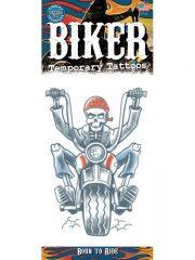tatouage temporaire, faux tatouage, faux tatouage déguisement, faux tatouage halloween, maquillage halloween, faux tatouage blessures, faux tatouages effets spéciaux déguisement, tatouage biker déguisement Tatouage Temporaire, Biker Born to Ride