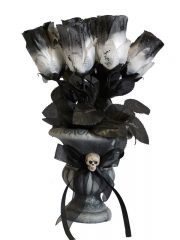 décoration halloween, vase halloween roses noires, décorations fleurs halloween, décoration gothique, accessoires décorations halloween Bouquet de Roses Gothiques, avec Vase Noir