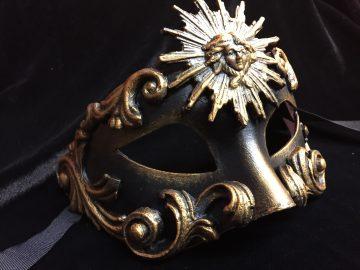 masque vénitien, loup vénitien, masque carnaval de venise, véritable masque vénitien, accessoire carnaval de venise, déguisement carnaval de venise, loup vénitien fait main Vénitien, Barocco Sole, Noir