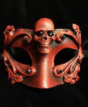 masque halloween, masque vénitien, loup vénitien, masque carnaval de venise, véritable masque vénitien, accessoire carnaval de venise, déguisement carnaval de venise, loup vénitien fait main Vénitien, Barocco Skull, Rouge
