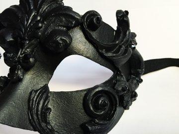 masque vénitien, loup vénitien, masque carnaval de venise, véritable masque vénitien, accessoire carnaval de venise, déguisement carnaval de venise, loup vénitien fait main Vénitien, Barocco Aqua, Noir