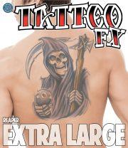 tatouage temporaire, faux tatouage, faux tatouage déguisement, faux tatouage halloween, maquillage halloween, faux tatouage blessures, faux tatouages effets spéciaux déguisement, tatouage biker déguisement, faux tatouage de dragon Tatouage Temporaire, Faux de la Mort, XL