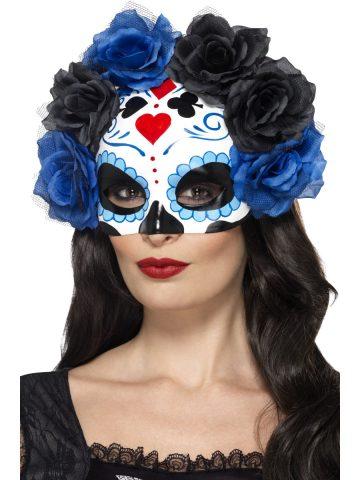 loup jour des morts squelette mexicain fleurs bleues. Black Bedroom Furniture Sets. Home Design Ideas