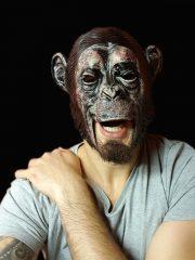 masque bouche ouverte, masque de déguisement, accessoire masque déguisement, accessoire masque halloween, accessoire déguisement halloween, masque chimpanzé, masque d'animaux latex, masque de singe en latex, masque latex déguisement Masque de Chimpanzé Bouche Dégagée, Latex