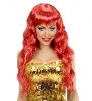 perruque femme, perruque pas cher paris, perruque glam, perruque rouge de sirène, perruque rouge, déguisement sirène accessoire, accessoire déguisement de sirène, perruque cheveux de sirène Perruque de Sirène, Rouge, Mairmaid