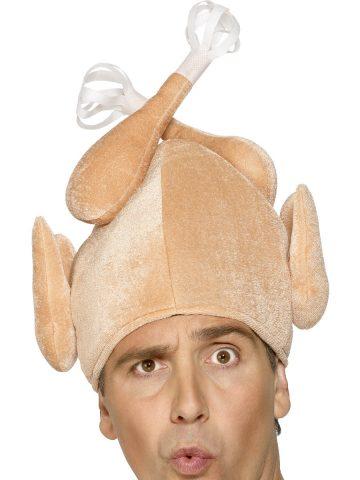 chapeau humour, chapeau dinde de noel, chapeau poulet, bonnet de noel original, chapeau thanksgiving, bonnet de poulet, bonnet de dinde, accessoire noel déguisement, accessoire déguisement noel, chapeau humoristique Chapeau Dinde de Noël, ou Poulet Rôti