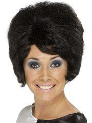 perruque femme pas cher, perruque de déguisement, perruque pour femme, perruque années 60, perruque brune femme, accessoire années 60 déguisement, accessoire déguisement perruque Perruque Beehive Années 60, Noire
