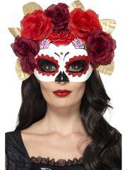 masque squelette mexicain, masque de déguisement, masque mexicain halloween, masque déguisement halloween, accessoire déguisement halloween masque, masque en papier maché, masque dia de la muerte, masque halloween, masque halloween day of death, déguisement jour des morts, masque jour de morts adulte, masque halloween femme Loup Jour des Morts, Squelette Mexicain, Fleurs Rouges