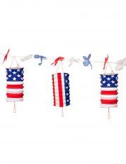 guirlande américaine, décoration américaine, guirlande lampions drapeau américain, décorations drapeau américain, accessoire américains soirée déguisement, guirlandes drapeaux américains Guirlande Lampions Drapeau Américain