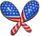 accessoire drapeau américain, maracas déguisement, accessoire déguisement américain Maracas Drapeau Américain