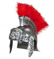 casque de romain, casques romains, accessoires déguisement de romain, casque de gladiateurs, accessoires soirée romaine déguisement, accessoire romain déguisement Casque de Romain Vieilli, avec Plumes Rouges