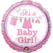 ballon de naissance, ballon bébé fille, ballon hélium, ballon baby shower, ballon gonflage hélium, décoration baby shower Ballon Aluminium, Naissance Bébé Fille, It's a Baby Girl