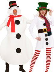 déguisements à deux, déguisements duos, déguisement bonhomme de neige, costume bonhomme de neige, costumes couples Bonhommes de Neige