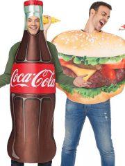 déguisements à deux, déguisements duos, déguisements humour, déguisement coca cola, déguisement hamburger, déguisement à deux, déguisements humour, costumes couples Coca et Burger