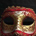 masque vénitien, loup vénitien, masque carnaval de venise, véritable masque vénitien, accessoire carnaval de venise, déguisement carnaval de venise, loup vénitien fait main Vénitien, Civette Giada, Rouge